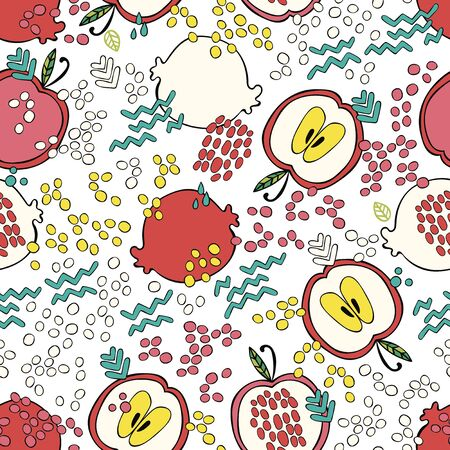 Apple and pomegranate. Doodles. Summer drawing. Fruits. Colored drops. Seamless vector pattern (background). Cartoon print.
