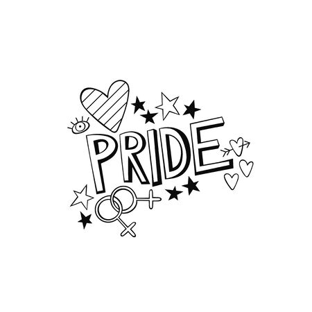 Pride Parade. LGBT. Lettering. Sticker. Isolated vector object on a white background.