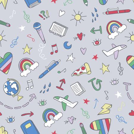 Doodle cartoon print. Airplane, globe, pen. Rainbow, stars, hearts, arrows. Seamless vector pattern (background).