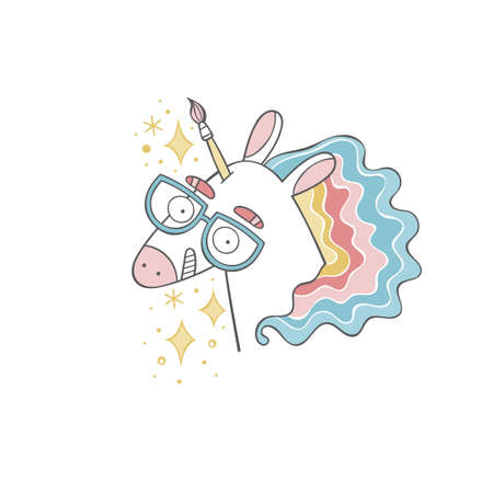 Unicorn - artist. Cartoon character. Rainbow. Isolated vector object on white background. Ilustração