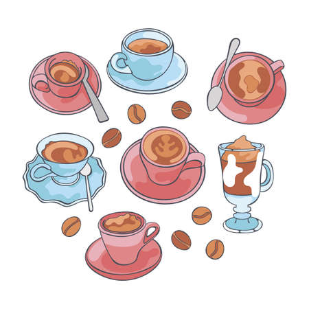 Coffee and coffee cup, mug. Espresso, cappuccino and latte. Set. Isolated vector objects on white background. Cartoon print.