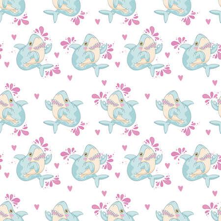Shark. Cartoon animal. Seamless vector pattern (background).
