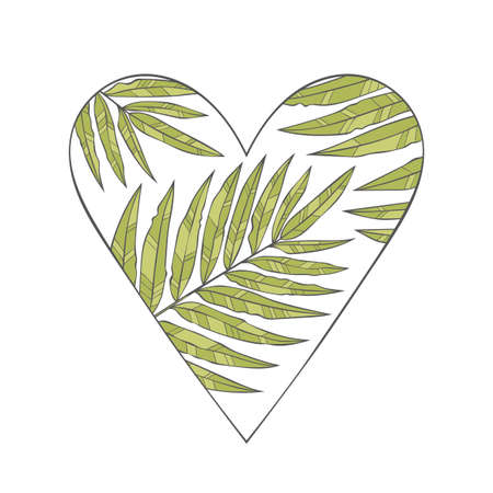 Heart. Tropical leaves. Palm. Isolated vector object on white background. Green.