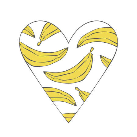 Heart. Fruits. Bananas. Isolated vector object on white background. Yellow.