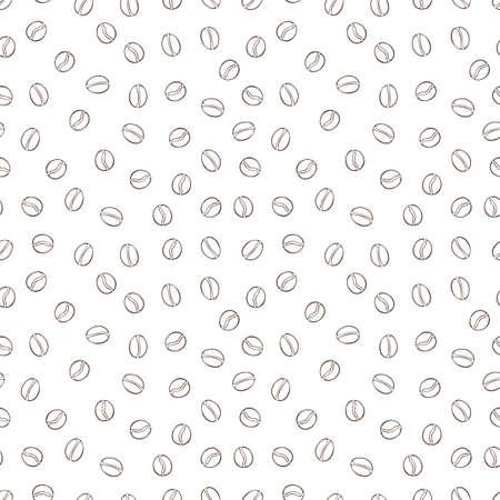 Coffee beans. Cartoon print. Seamless vector pattern (background).