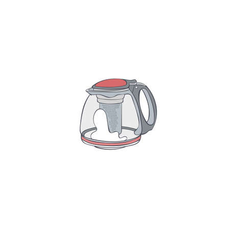 Coffee pot. Kettle. Cartoon art. Isolated vector object on white background.