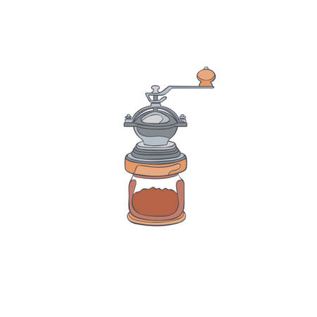 Coffee grinder. Cartoon art. Isolated vector object on a white background.