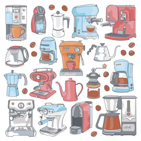 Coffee machine. Coffee pot. Kettle. Coffee grinder. Cartoon art. Isolated vector object on a white background.