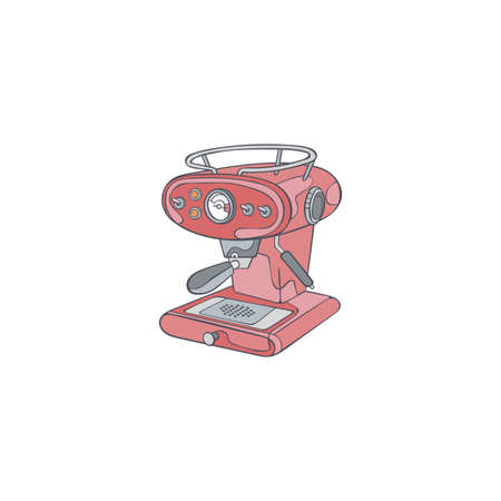Coffee machine. Cartoon art. Isolated vector object on white background.