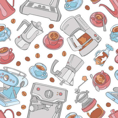 Coffee machine and coffee grinder. Coffee and coffee cup. Espresso, cappuccino and latte. Seamless vector pattern (background). Cartoon print. Ilustração