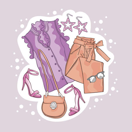 Fashion set. Sketch style vector collection. Clothes, footwear and accessories. Isolated vector object. White circle dots.