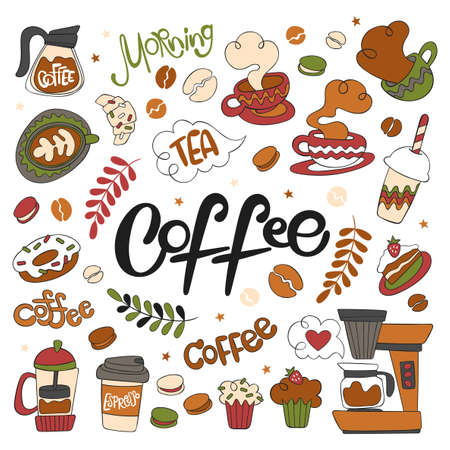 Hot drinks. Coffee. Teapot, coffee cup, coffee beans. Baking: pie slice, macaroon, croissant, cupcake, muffins. Lettering. Morning. Set. Isolated vector objects on white background. Doodle cartoon.