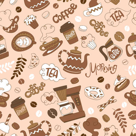 Coffee pot and coffee cup. Hot drink mug. Coffee machine. Sweet pastries: cupcake, donuts, muffin, croissant, macaroon. Lettering set. Seamless vector pattern (background).