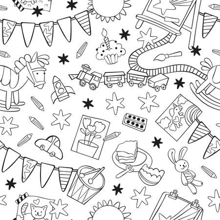Toys: rocking horse, toy railroad, toy car, train, drum, stuffed animals, bunny toy. Easel, paints and brushes, children's drawings. Garland flag. Cartoon print. Seamless vector pattern (background). 向量圖像