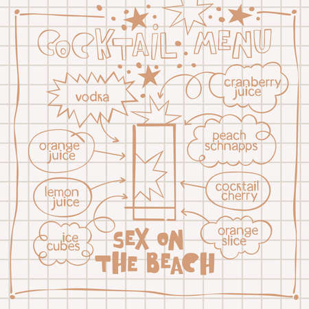 Sex on the beach. Cocktail menu. Alcoholic cold drinks. Recipe. Lettering, arrows, dialog clouds. Stars and dots, blots. Gray checkered background. Isolated vector objects. Cartoon glass.