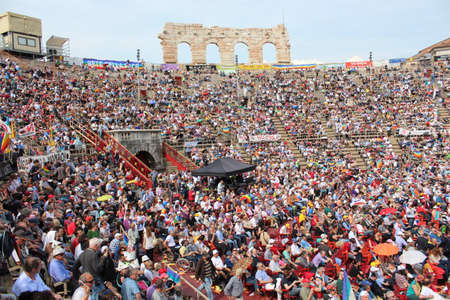 non violence: A huge crowd in Arena of Verona Editorial