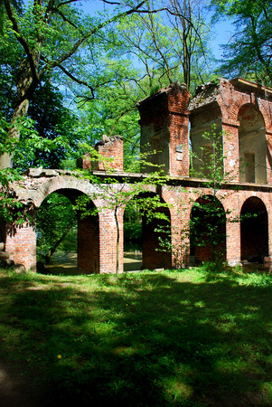 and arcadia: Aqueduct ruins in the park in Arcadia near Łowicza (Poland)