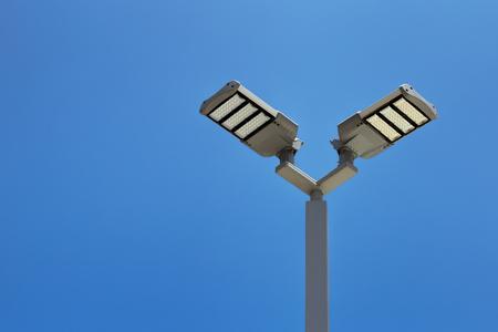 Double Headed Led Street Lights With Blue Sky Led Parking Lot