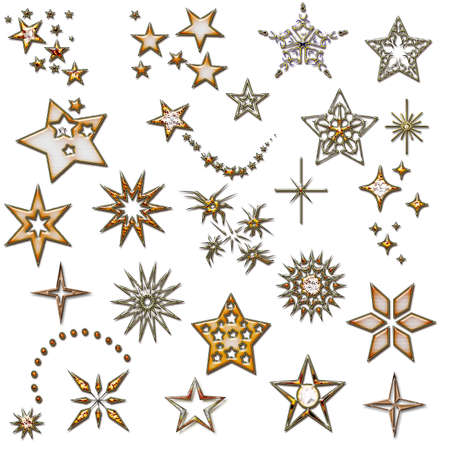 set of stars. design element. star icons. Christmas golden design elements. Stock Photo - 11090947