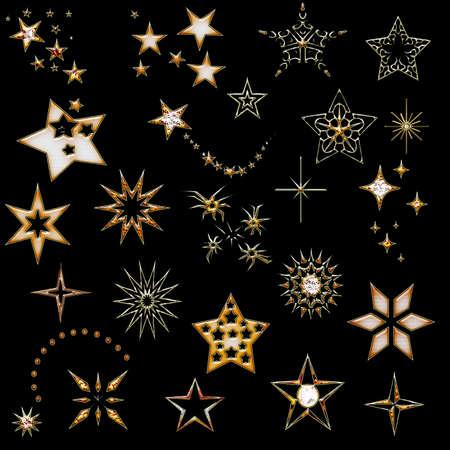 set of stars. design element. star icons. Christmas golden design elements. Stock Photo - 11090946