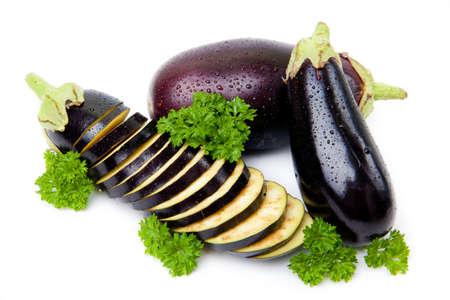 aubergines isolated Stock Photo