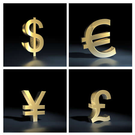 Different currency symbols over black background photo