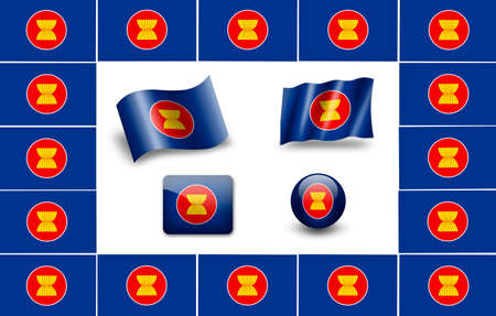 asean flag icon set Stock Photo