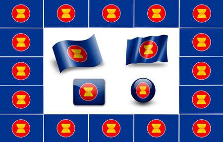 asean flag icon set photo