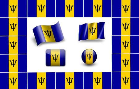 Barbados flag icon set photo