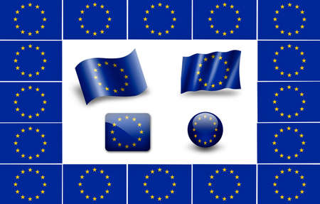 flag of Europe. european flag. icon set photo