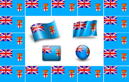fiji: flag of Fiji. icon set