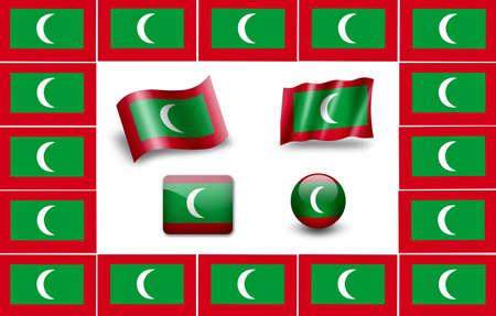 maldives island: Flag of Maldives. icon set