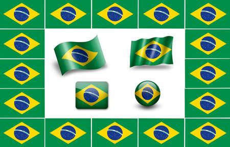brazilian: flag of Brazil. Brazilia flag. icon set Stock Photo