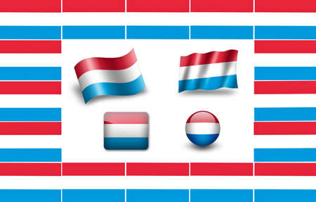 flag of Luxembourg. icon set. flags frame photo