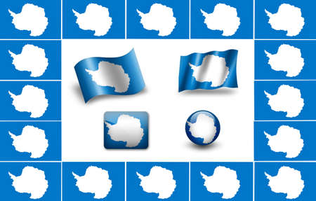 antarctica: flag of Antarctica. icon set Stock Photo