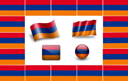 flag of Armenia. icon set photo