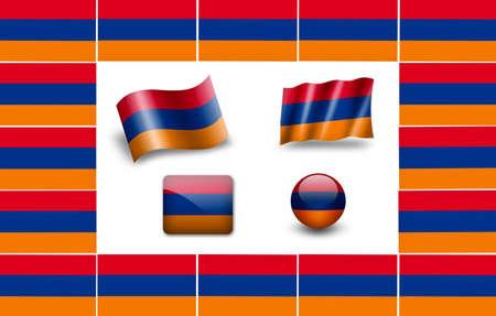 flag of Armenia. icon set photo