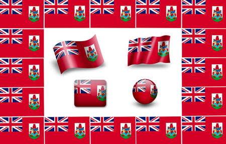 bermuda: flag of Bermuda. icon set Stock Photo