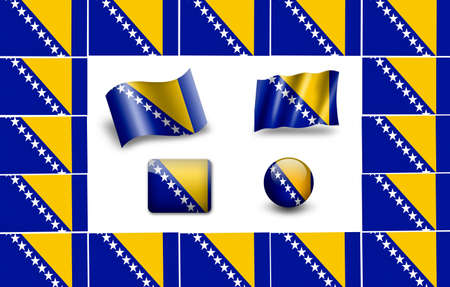 flag of Bosnia and Herzegovina. icon set Stock Photo - 12011950