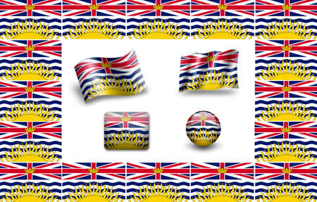 flag of British Columbia. icon set photo