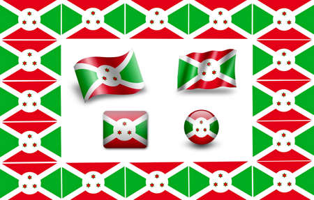 flag of Burundi. icon set photo