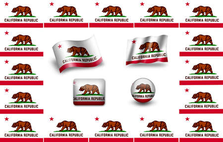 flag of California. USA . icon set photo