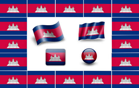flag of Cambodia. icon set photo