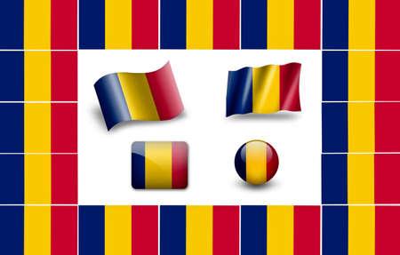 chad: flag of Chad. icon set Stock Photo