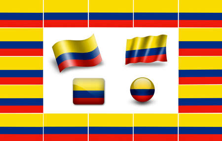 Flag of Colombia. icon set. flags frame photo