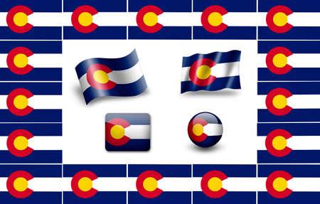 flag of colorado: Flag of Colorado. icon set. flags frame