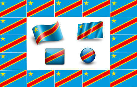 republic of the congo: flag of Congo. icon set. flags frame