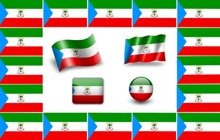 equatorial: flag of Equatorial Guinea. icon set