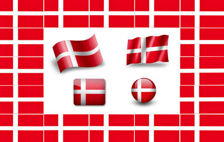 flag of Denmark. icon set photo