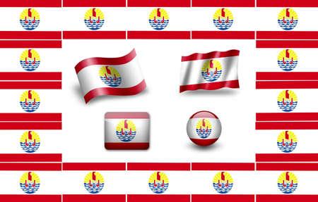 francaise: flag of French Polynesia. icon set Stock Photo